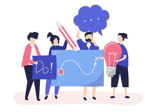 Pessoas segurando ícones de idéias criativas