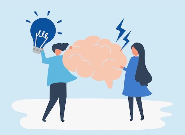 Pessoas segurando idéias criativas ícones ilustração