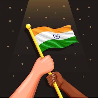 Pessoas segurando o símbolo da bandeira da índia para o dia da independência indiana, 15 de agosto de 1947, ilustração vetorial