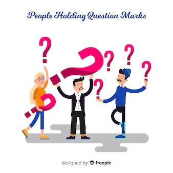 Pessoas, segurando, pergunta, marca, fundo