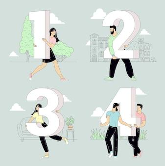 Pessoas segurando sinais numéricos em vários fundos internos e externos