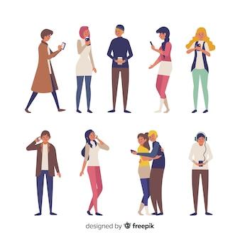 Pessoas, segurando, smartphones