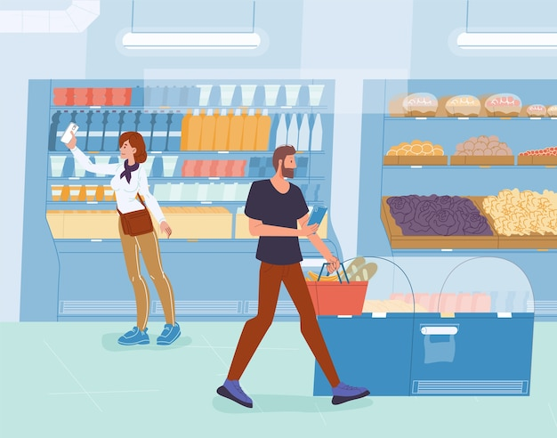 Pessoas segurando um smartphone fazem compras no supermercado.