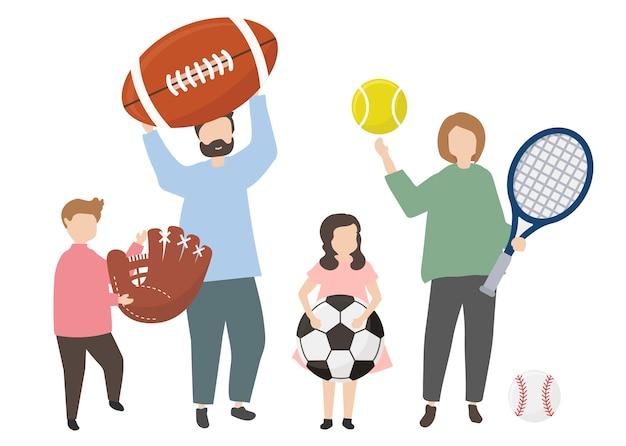 Pessoas, segurando, um, variedade, de, equipamento esportes