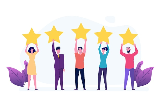 Pessoas segurando uma estrela de classificação de ouro. feedback positivo da estrela, pesquisa de garantia de qualidade