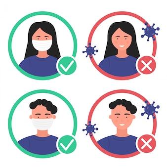 Pessoas sem a máscara de proteção inserida não são permitidas. Vetor Premium