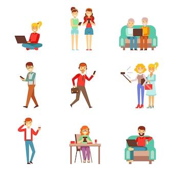 Pessoas sendo obcecadas com gadgets conjunto de ilustrações