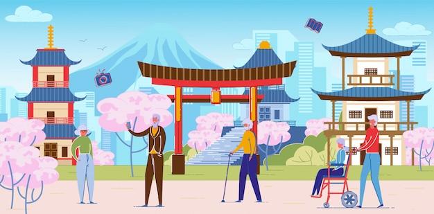 Pessoas seniores em excursão em grupo no japão