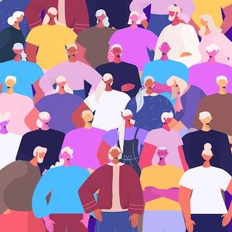 Pessoas seniores grupo de amigos maduros que estão juntos ilustração em vetor retrato conceito de velhice