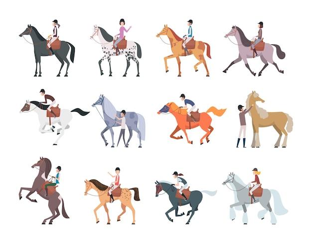 Pessoas sentadas e andando em cavalos domésticos fortes