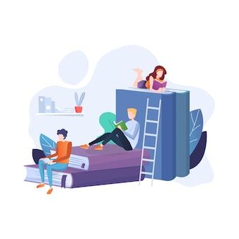 Pessoas sentadas e lendo em uma enorme pilha de livros