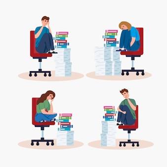 Pessoas sentadas em cadeiras com ataque de estresse e pilhas de documentos