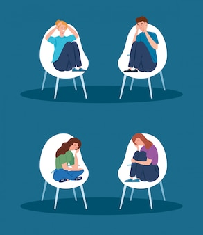 Pessoas sentadas em cadeiras com ícone isolado de ataque de estresse