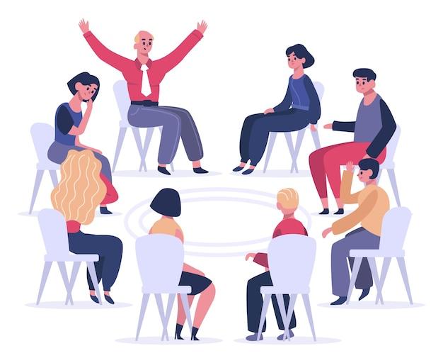 Pessoas sentadas em cadeiras em círculo e conversando