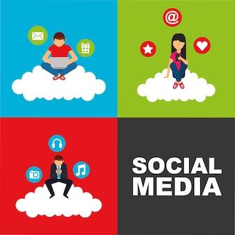 Pessoas sentadas em nuvem com tecnologia de dispositivos mídias sociais