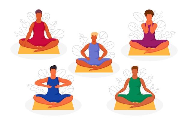 Pessoas sentadas em posição de lótus com autocura com poses de reiki