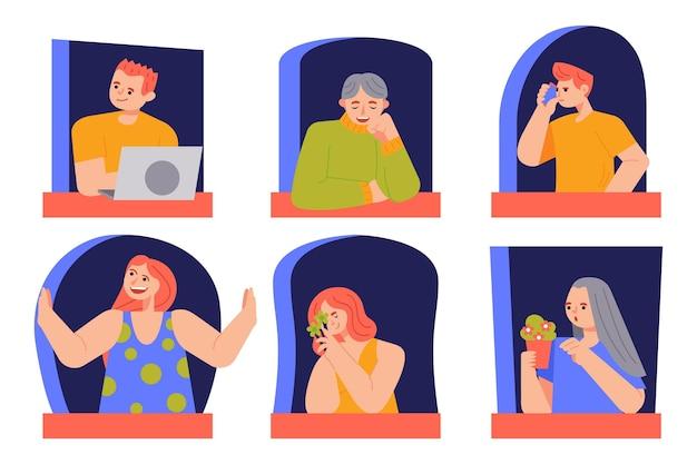 Pessoas sentadas em suas janelas