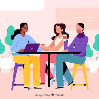 Pessoas sentadas em um design plano de café