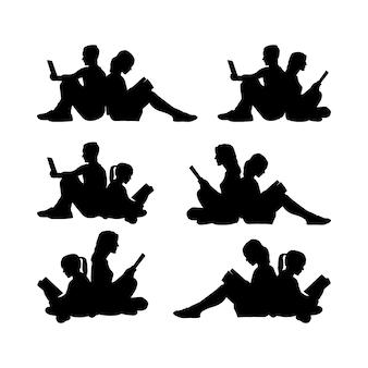Pessoas sentadas, leitura, grupo silhueta