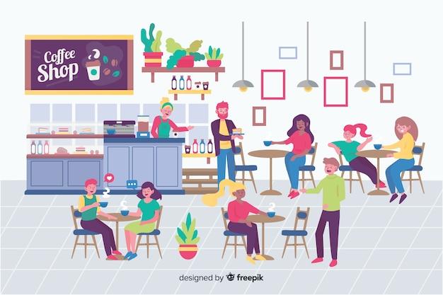 Pessoas sentadas na cafeteria