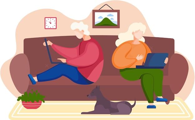 Pessoas sentadas no sofá segurando um laptop