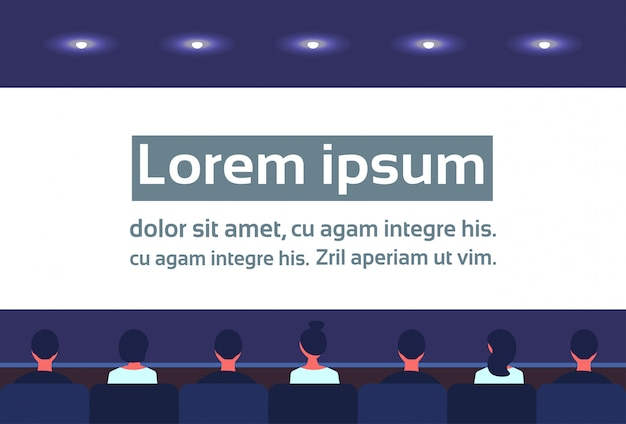 Pessoas sentam cinema hall volta retrovisor olhando tela negócios vídeo apresentação esperando filme