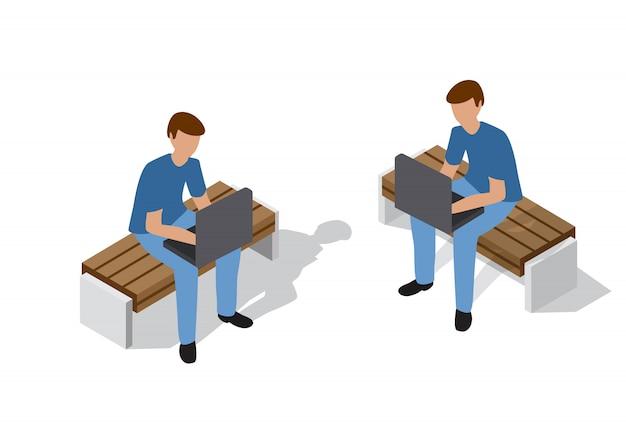Pessoas, sentando, banco