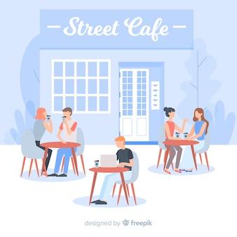 Pessoas, sentando, em, um, café