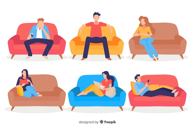 Pessoas, sentando, sofá