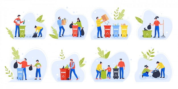 Pessoas separando lixo. dia do meio ambiente reciclar lixo, família com crianças classificar e separar o lixo para reduzir o conjunto de ilustração de poluição ambiental. ativistas ecológicos com lixeiras