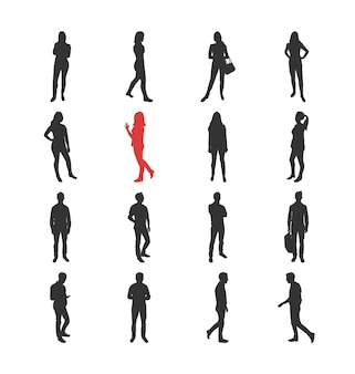 Pessoas, silhuetas masculinas e femininas em diferentes poses comuns casuais - conjunto de ícones isolados de design plano moderno. parado, caminhando, assistindo a um smartphone com os braços cruzados na cintura com uma bolsa