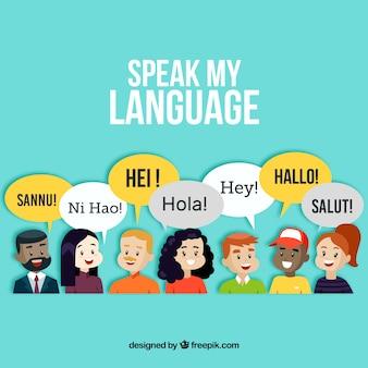 Pessoas sorridente falando línguas diferentes com design plano