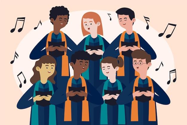 Pessoas sorridentes cantando em um coro gospel