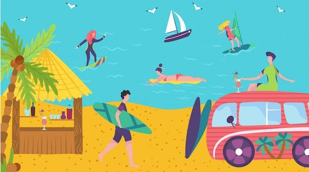 Pessoas surfando no oceano, férias de verão na praia, bar bungalow com cocktails, ilustração