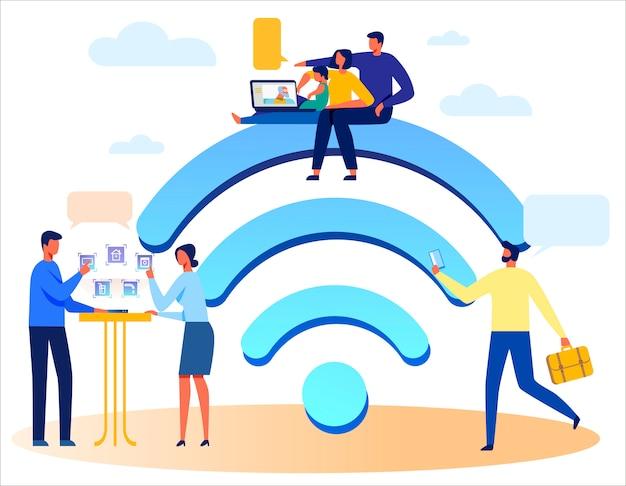 Pessoas, tecnologias sem fio e enorme sinal wi-fi