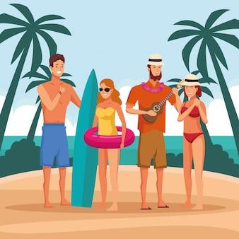Pessoas, tendo divertimento, em, praia