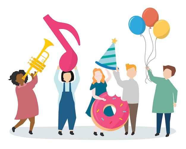 Pessoas, tendo, um, partido, celebração