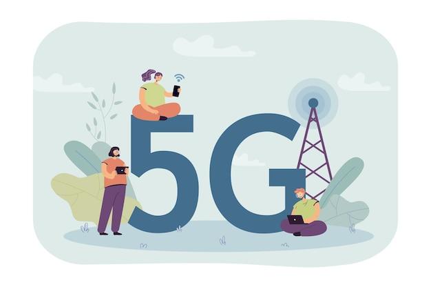 Pessoas tentando obter uma conexão de internet 5g