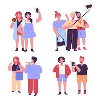 Pessoas tirando fotos com coleção de smartphones
