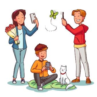 Pessoas tirando fotos com smartphone