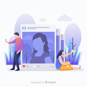 Pessoas tirando fotos e perfis do instagram