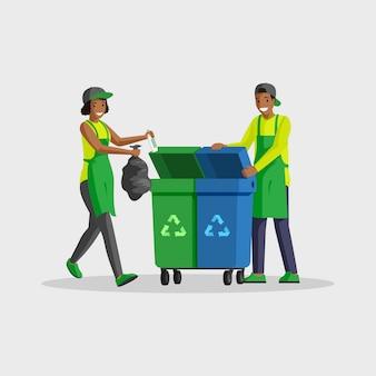 Pessoas tirando lixo ilustração de cor lisa. voluntários classificando resíduos, colocando sacos de lixo em lixeiras para reciclagem. homem afro-americano e mulher limpando personagens de desenhos animados isolados