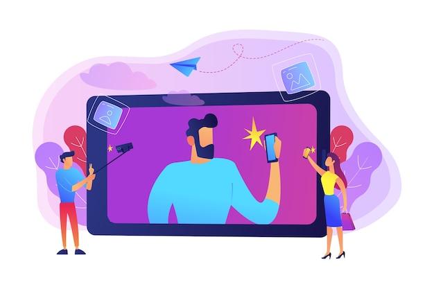 Pessoas tirando selfie com smartphones e ilustração de bastões de selfie