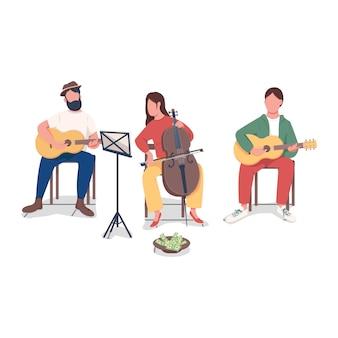 Pessoas tocando personagem sem rosto de cor lisa de música. a banda cria canções. ganhando dinheiro com talento. ilustração de desenho animado isolado de músico
