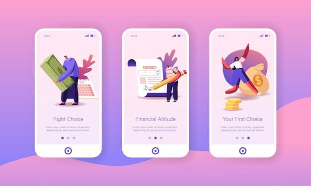 Pessoas tomam empréstimo de dinheiro no modelo de tela a bordo da página do aplicativo móvel do banco.
