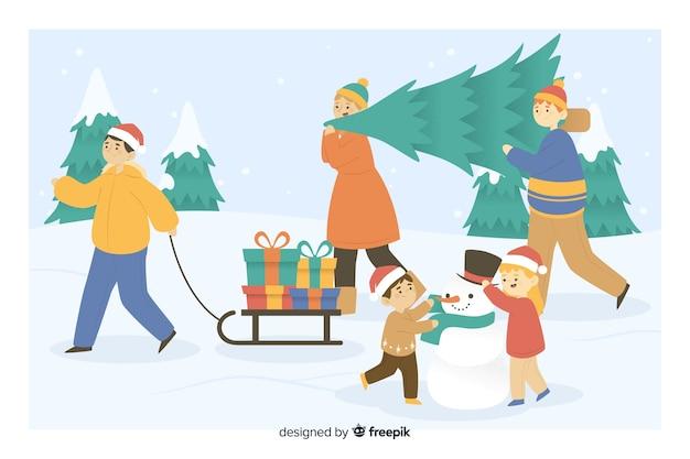Pessoas tomando árvore de natal e presentes dos desenhos animados