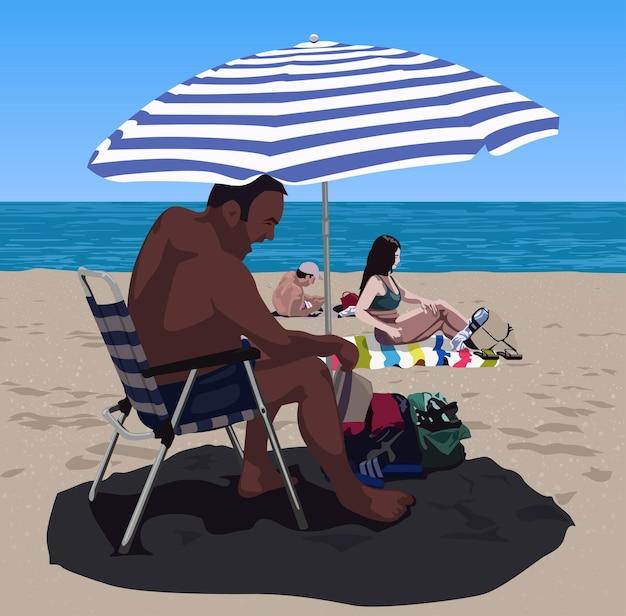 Pessoas tomando banho de sol na praia de areia