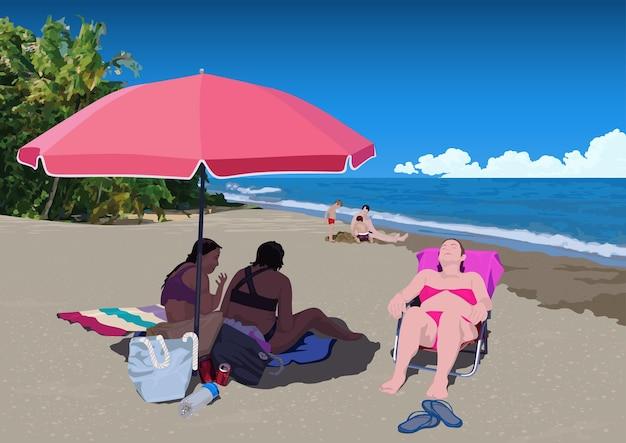 Pessoas tomando banho de sol na praia tropical de areia