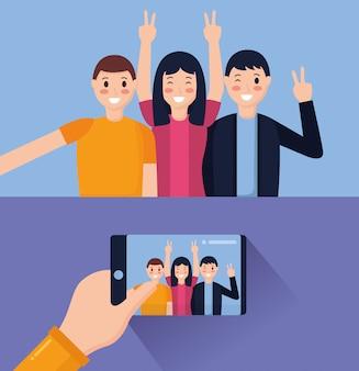 Pessoas tomando selfie