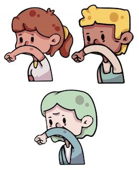 Pessoas, tosse, cotovelo, covid-19, ilustração
